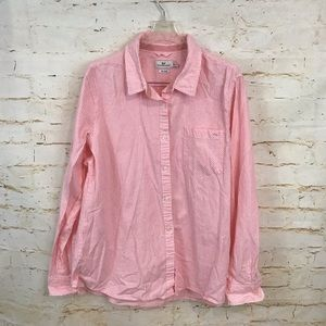 Vineyard Vines 14 pink white button down shirt euc